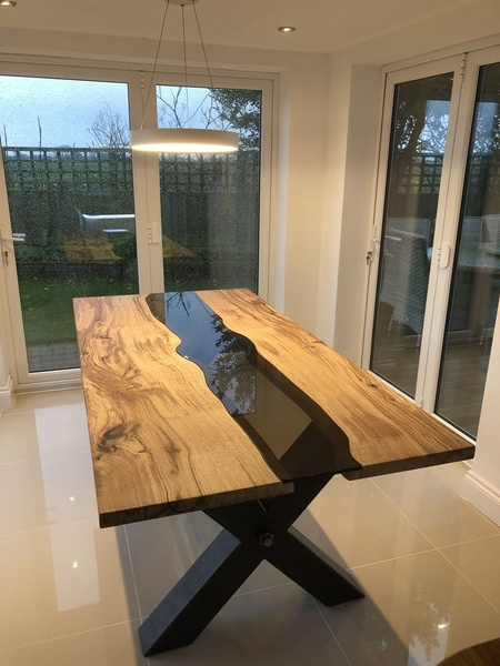 Glass insert dining room table picture
