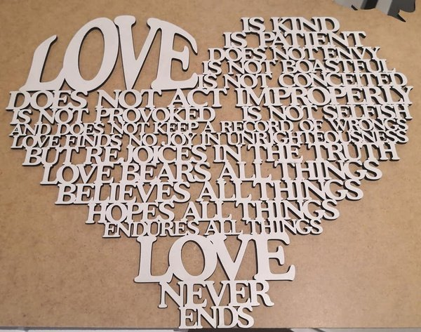 """""""love is"""" heart laser-cut picture"""