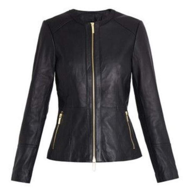 Ladies leather jacket picture