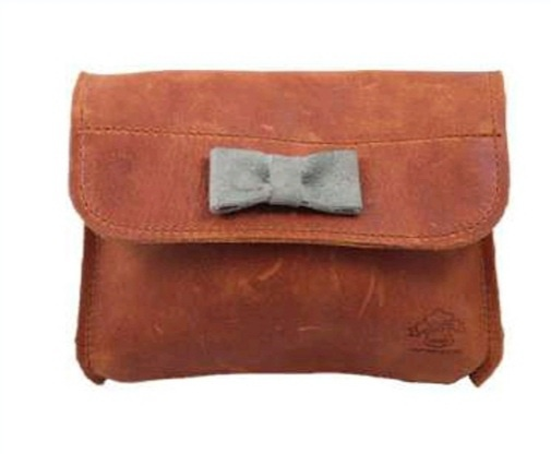 Proto leather bag with a bow - large picture