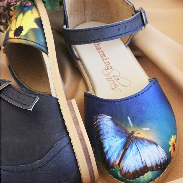 Butterfly closed toe sandal - blue & lilac picture