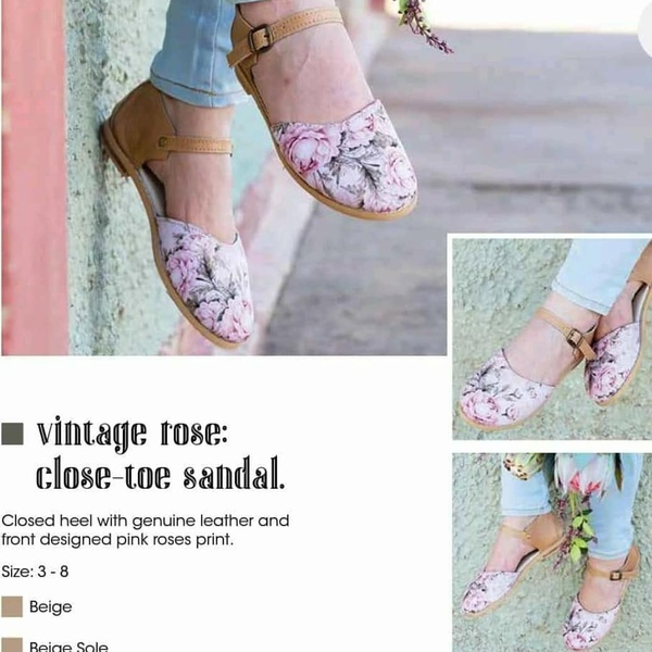 Vintage rose closed toe sandal picture
