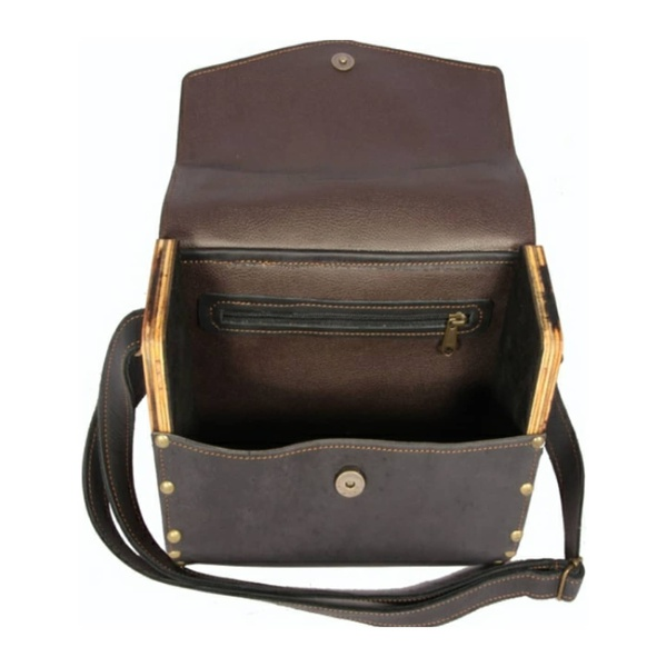 Wooden panel shoulder bag picture