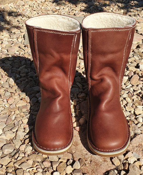 Leather ugg style boots picture