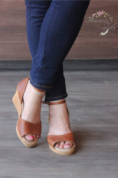 Charlize - open toe leather wedge shoes picture