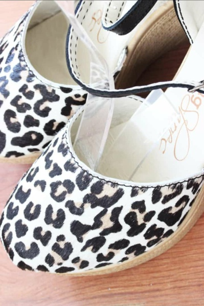 Leopard printed cowhide wedges picture