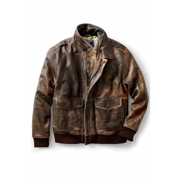 Mens leather jacket - aviator picture