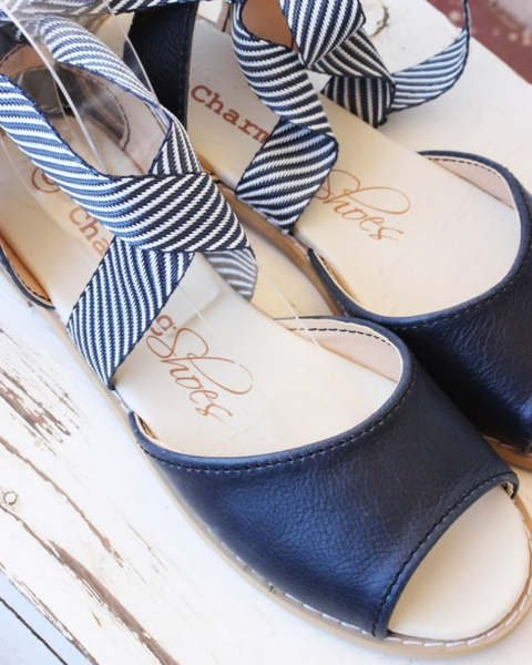 Mia marine leather sandals picture