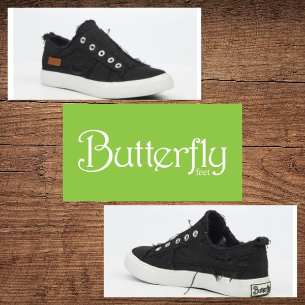 Butterfly feet shore 1 black slip on picture