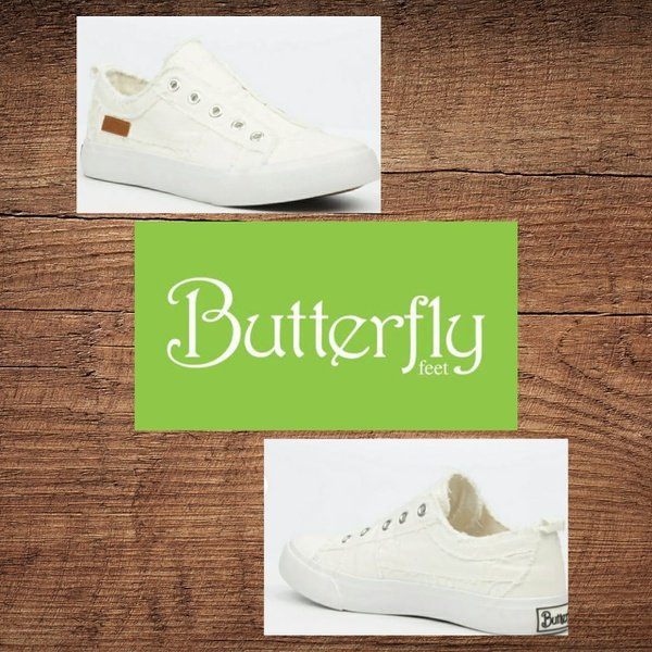 Butterfly feet shore 1 white slip on picture