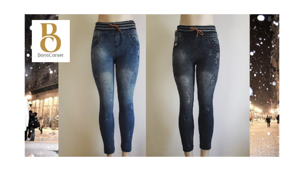 Denim leggings with draw string picture