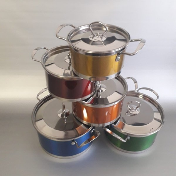 10 piece german made stainless steel colored cookware set picture