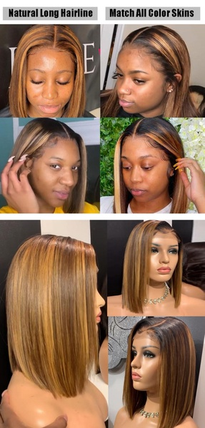 Custom highlight brown full frontal lace bob wig pre plucked. picture