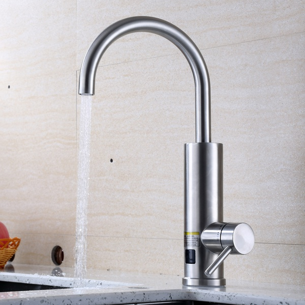 Kitchen stainless steel body faucet. digital display picture