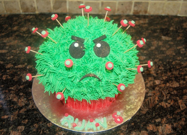 Corona virus giant cupcake picture