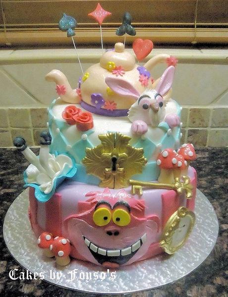 Alice in wonderland birthday cake picture