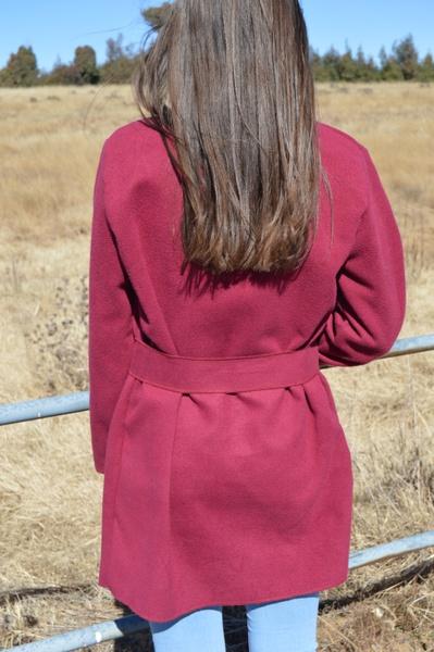 Maroon melton jacket picture