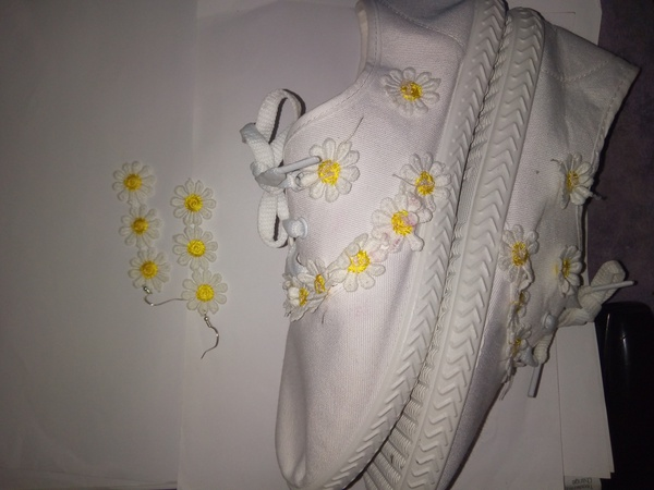 White sneakers with matching earrings picture