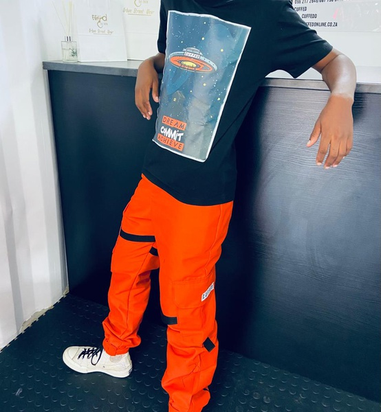 Orange cargo pants picture