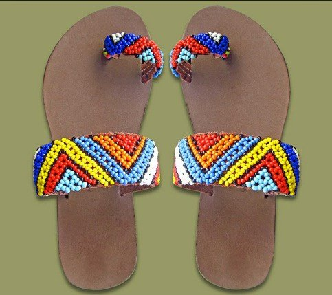 African themed slippers picture