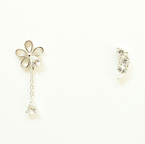 Odd pair zirconia sterling silver stud earrings picture