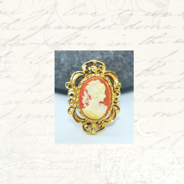 Vintage cameo costume brooch picture