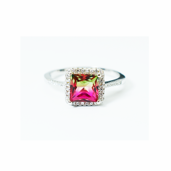 Pink mystic topaz sterling silver ring picture