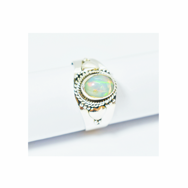 Natural ethiopian opal sterling silver ring picture