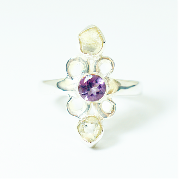 Natural raw herkimer diamonds and amethyst sterling silver ring picture