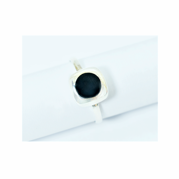 Natural onyx sterling silver ring picture