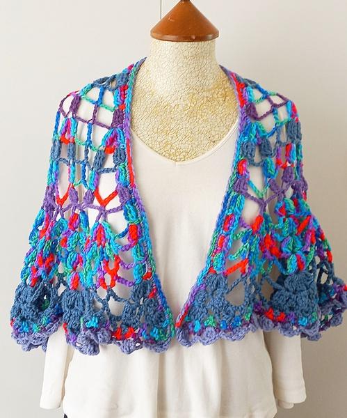 Blue-cerise crochet shawl picture