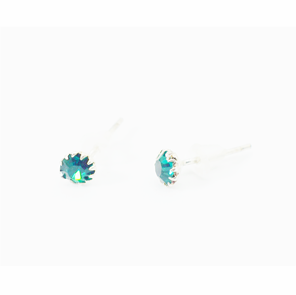 Emerald birthday zirconia sterling silver studs picture