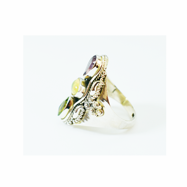 Natural amethyst, ethiopian opal and peridot sterling silver ring picture