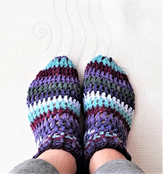 Adult striped booties -  size 7- 8 picture