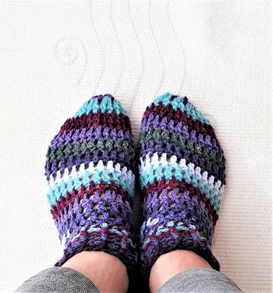 Adult striped booties -  size 7 - 8 picture