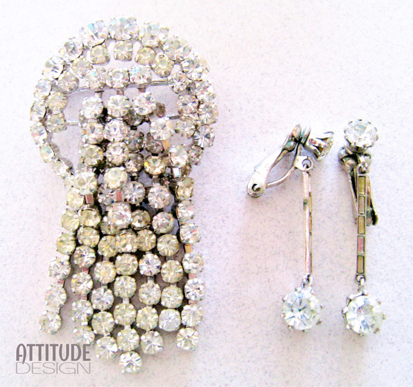 Art deco brooch & earring set picture
