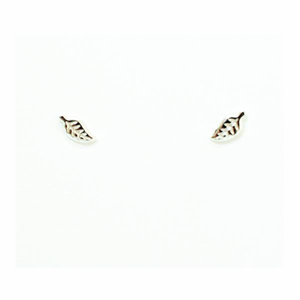 Plain leaf sterling silver stud earrings picture