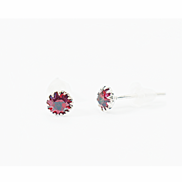 Garnet birthday zirconia sterling silver studs picture