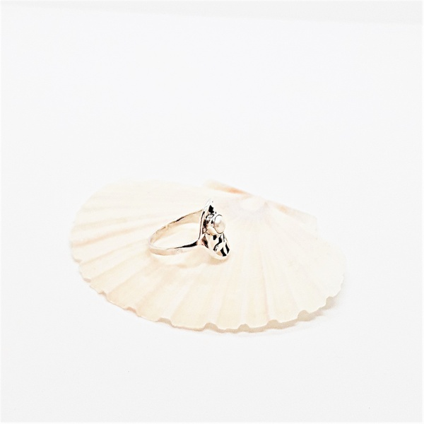 Natural cultured pearl sterling silver ring picture
