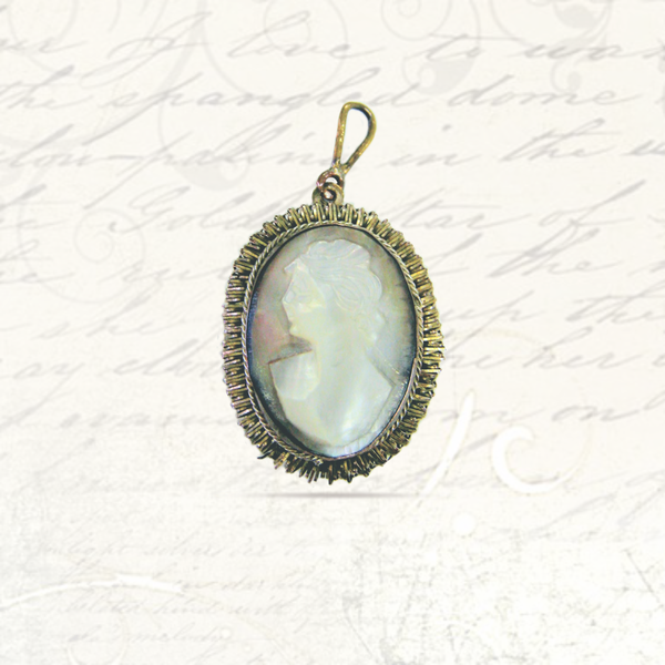 Antique shell cameo silver pendant picture