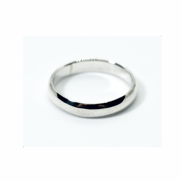 Rounded plain sterling silver band ring picture