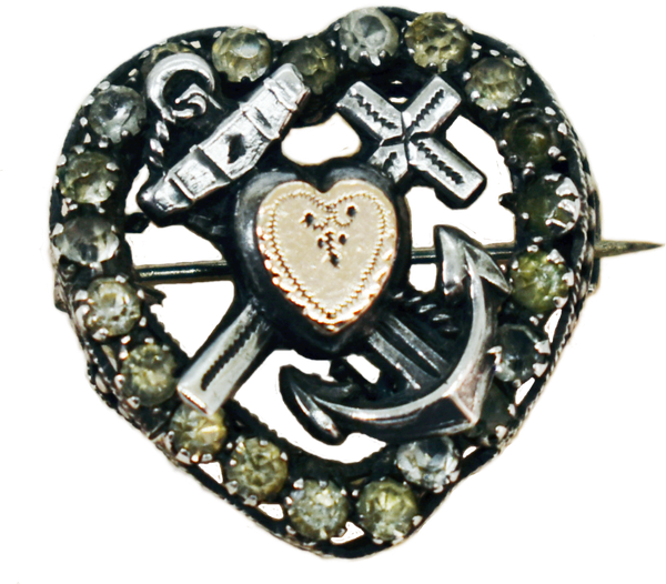 Vintage victorian sterling silver and 9 ct gold navy sweetheart brooch picture