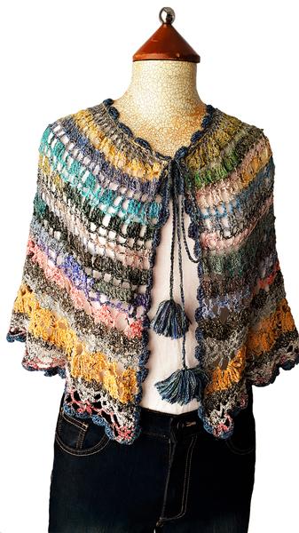 Multi-colour crochet capelet picture