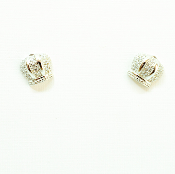 Zirconia royal crown sterling silver stud earrings picture