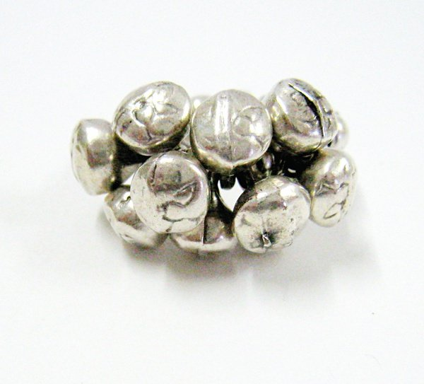 Egyptian beads sterling silver ring picture