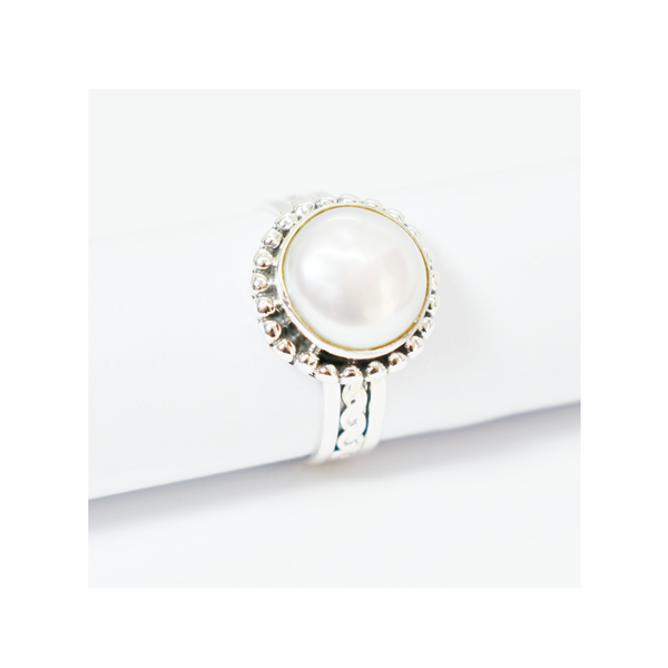 Cultured pearl sterling silver ring picture