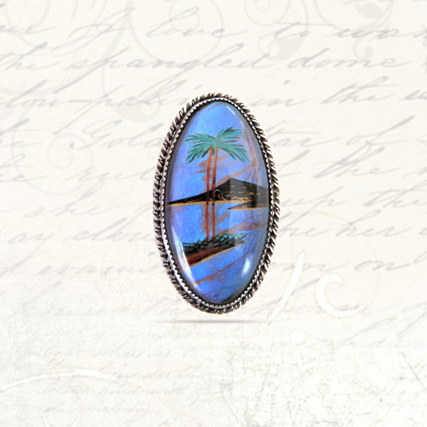 Vintage art deco silver morpho butterfly wing brooch/pendant picture