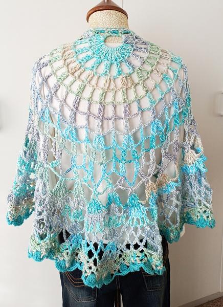 Sea-green crochet shawl picture