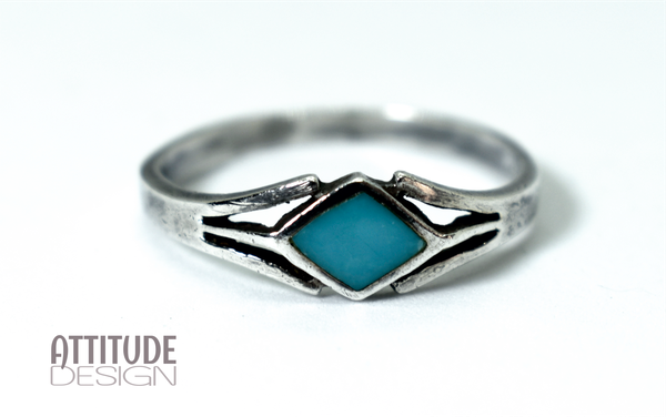 Blue agate sterling silver ring picture