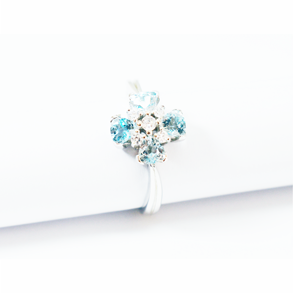 Natural blue topaz sterling silver ring picture